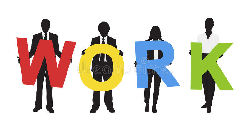 Silhouettes of Business People Holding Text Work Concept vector illustration
