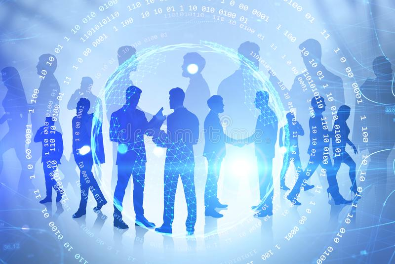 Silhouettes of business people, internet interface. Silhouettes of business people working over blue background with double exposure of planet hologram and stock images
