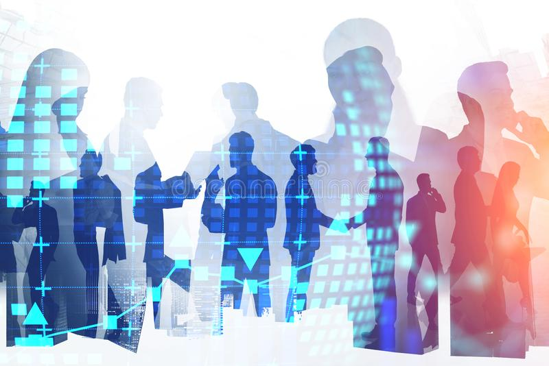 Business people and hi tech company. Silhouettes of business people in modern city with double exposure of digital planet hologram. Concept of smart things, hi royalty free stock images