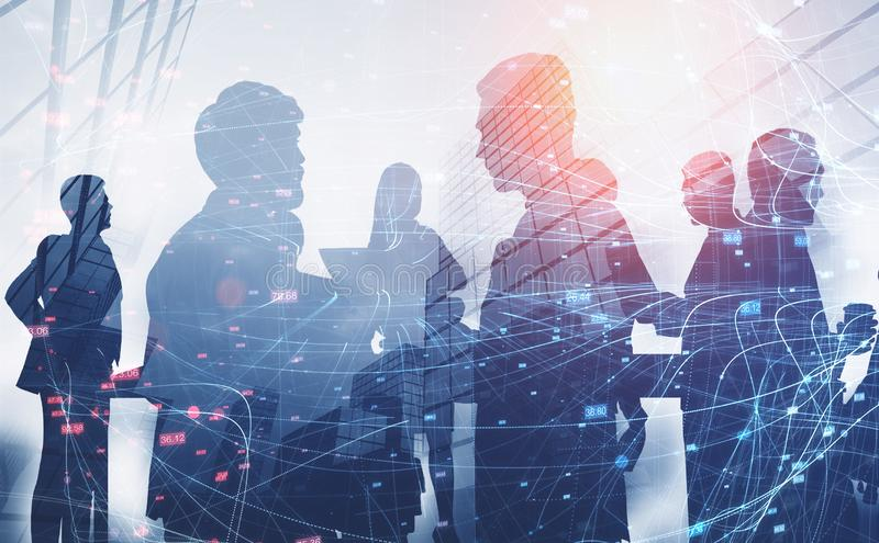 Silhouettes of business people, network stock illustration