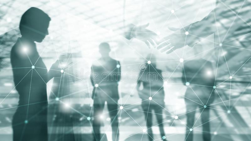 Silhouettes of Business People Over Cityscape Background. Corporate Lifestyle. Universal Wallpaper Concept stock photography