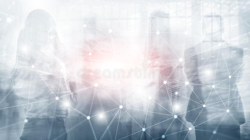 Silhouettes of Business People Over Cityscape Background. Corporate Lifestyle. Universal Wallpaper Concept. Silhouettes of Business People Over Cityscape royalty free stock photo