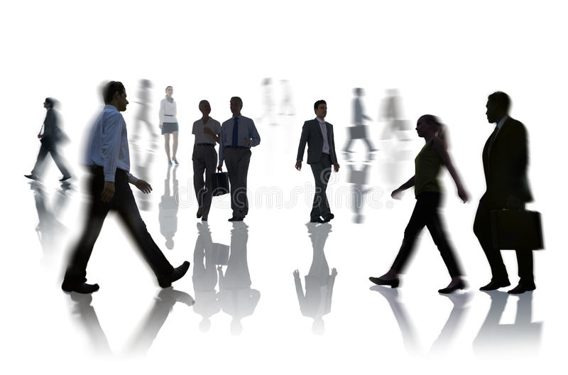 Silhouettes of Business People Rush Hour.  royalty free stock image