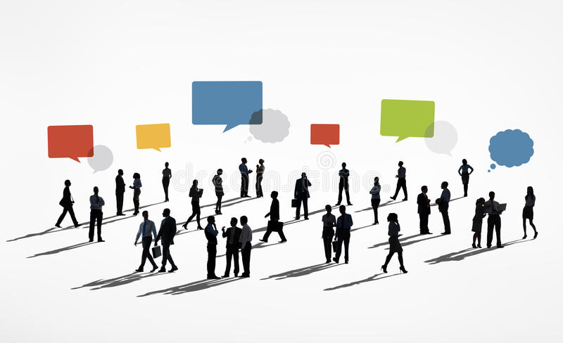 Silhouettes of Business People Working and Speech Bubbles Above vector illustration