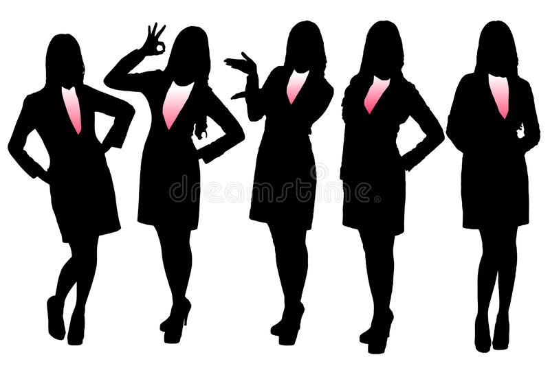 Silhouettes of Business woman vector illustration