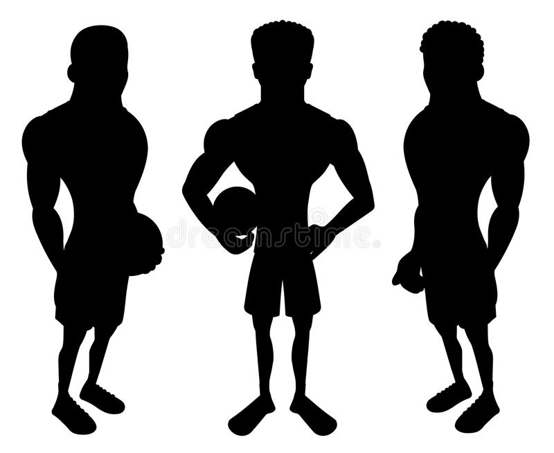 Silhouettes of cartoon basketball players stock illustration