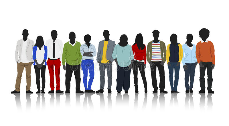 Silhouettes of Casual People with Colourful Clothes vector illustration