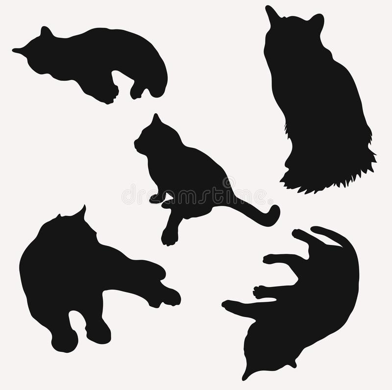 Silhouettes of cats in different poses vector illustration number two royalty free illustration