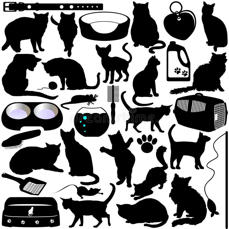 Download Silhouettes Of Cats, Kittens Stock Vector - Image: 22324874