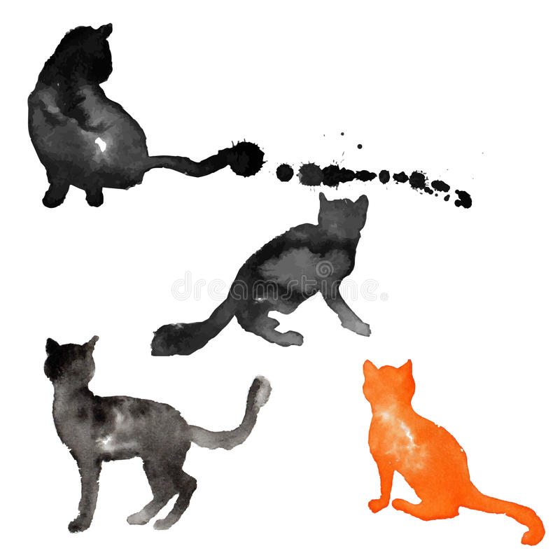 Silhouettes of cats made with watercolor stock photo