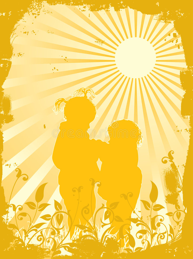 Silhouettes of children in beams of the sun, vector royalty free illustration