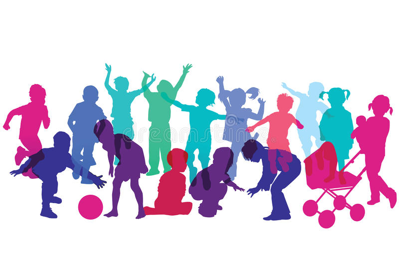 Silhouettes of Children Running and Playing. Colorful silhouettes of young children playing with toys, running and having fun royalty free illustration