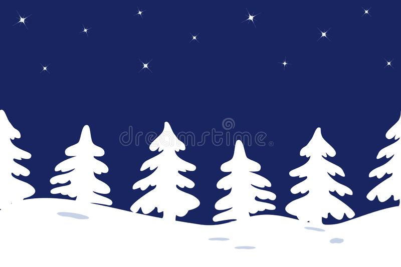 Silhouettes of Christmas trees on a star sky background. Seamless border. Silhouettes of Christmas trees on a star sky background. Winter landscape. Seamless vector illustration