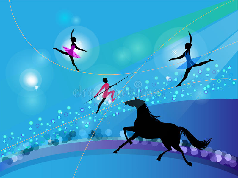 Download Silhouettes Of Circus Trapeze Artists And A Horse Stock Vector - Image: 23995040