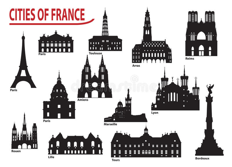 Silhouettes of cities in France stock illustration