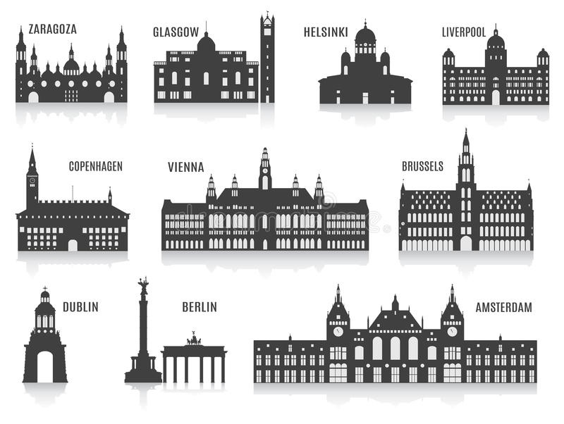 Silhouettes of cities vector illustration