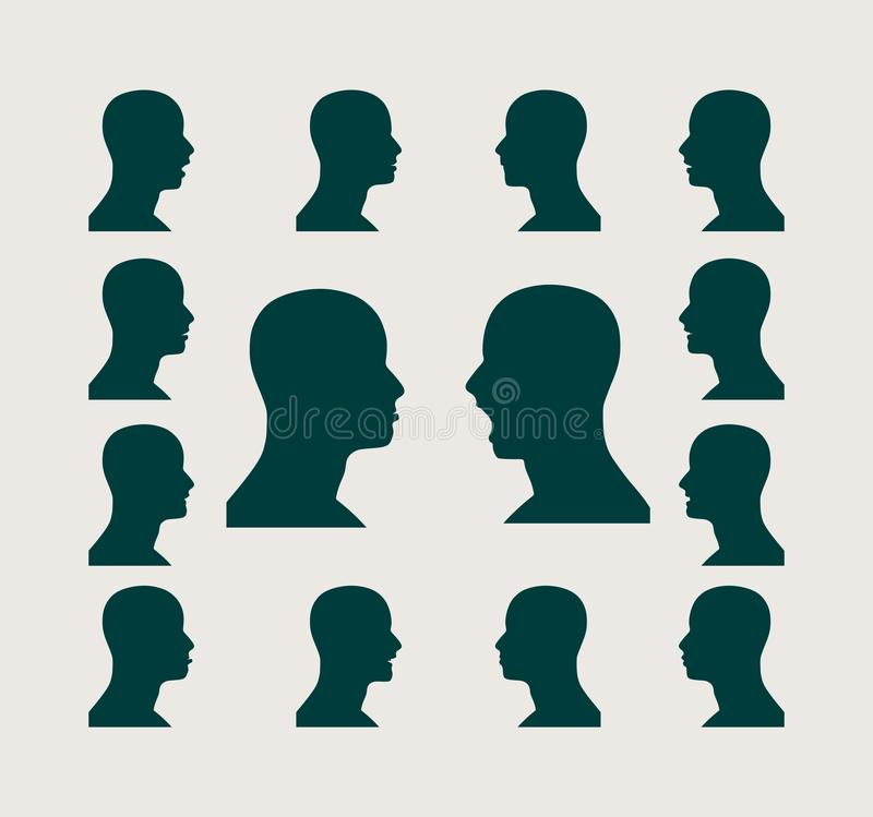 Silhouettes collection of a man's head. Set of silhouettes of a man's head. Various emotions vector illustration