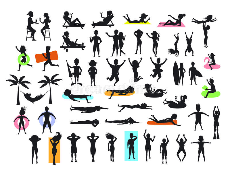 Silhouettes collection of people enjoying summertime beach holidays vacations royalty free illustration