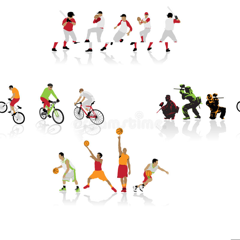 Silhouettes colorées de sport illustration libre de droits