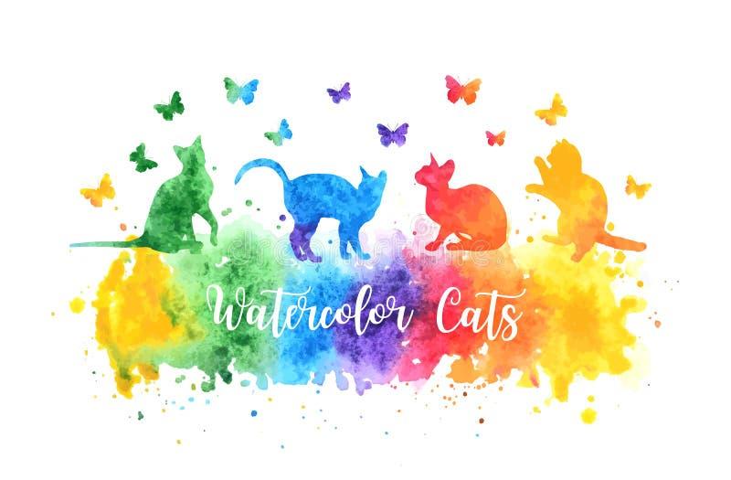 Silhouettes colorées mignonnes de chat d'aquarelle jouant avec des papillons l'aquarelle de vecteur d'arc-en-ciel éclaboussent EN illustration libre de droits