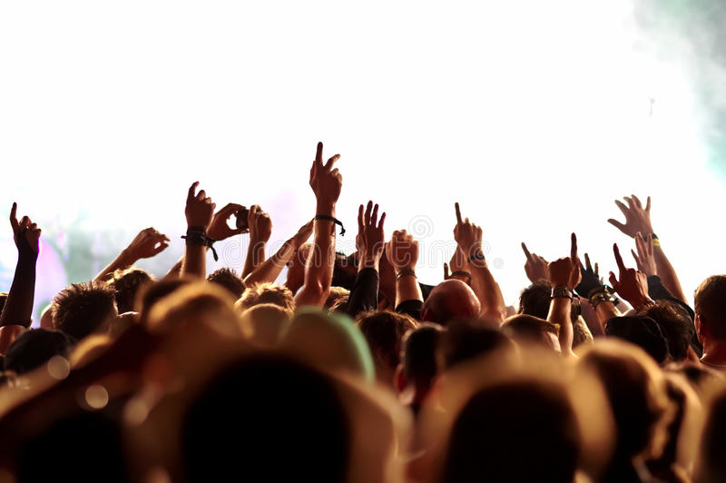 Silhouettes of concert crowd royalty free stock image