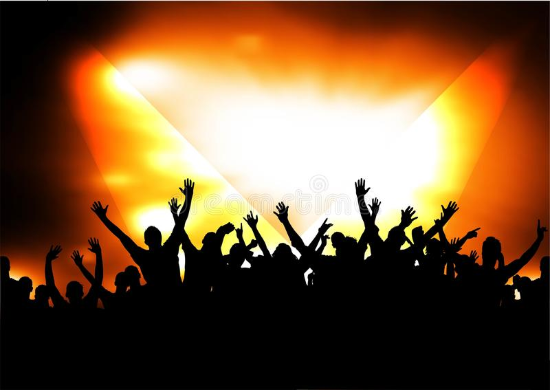 Silhouettes of concert crowd stock illustration