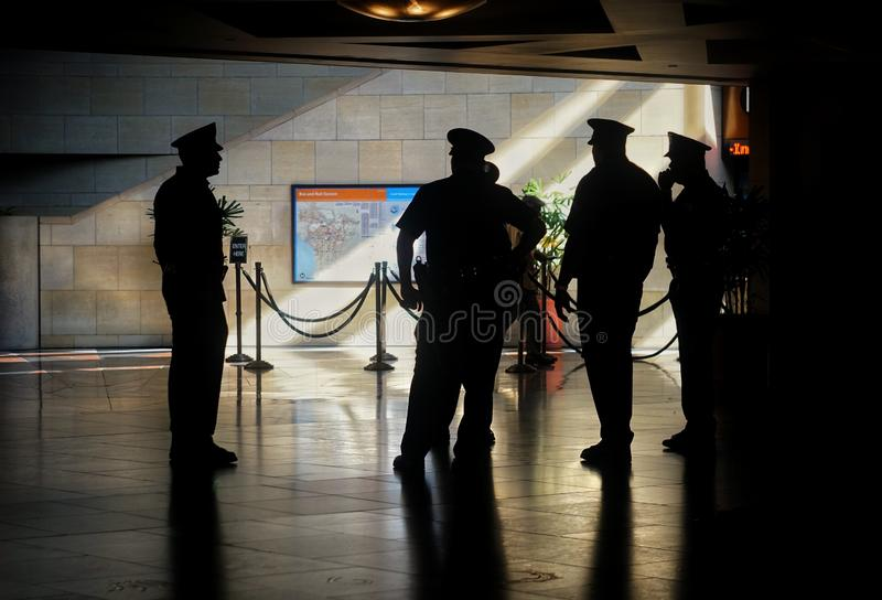 Cops at Union Station Los Angeles stock photo