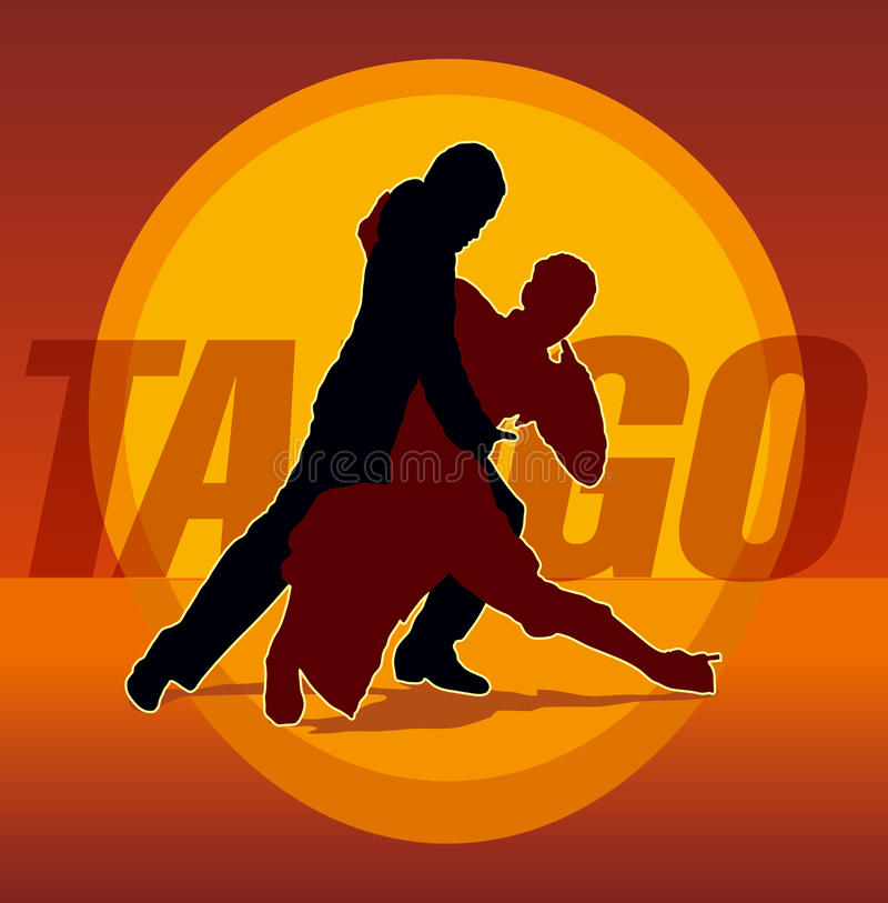 Silhouettes of couple dancing argentine tango stock image