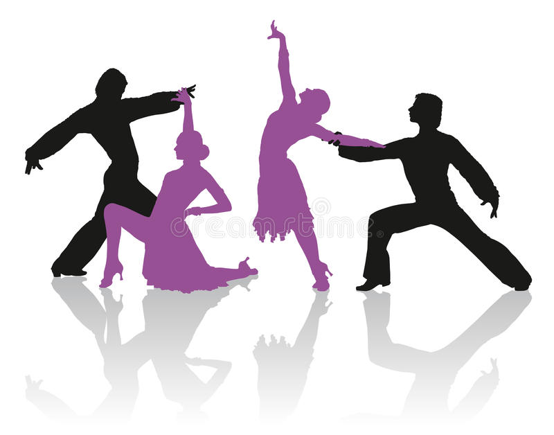 Silhouettes of couple dancing ballroom dance stock image