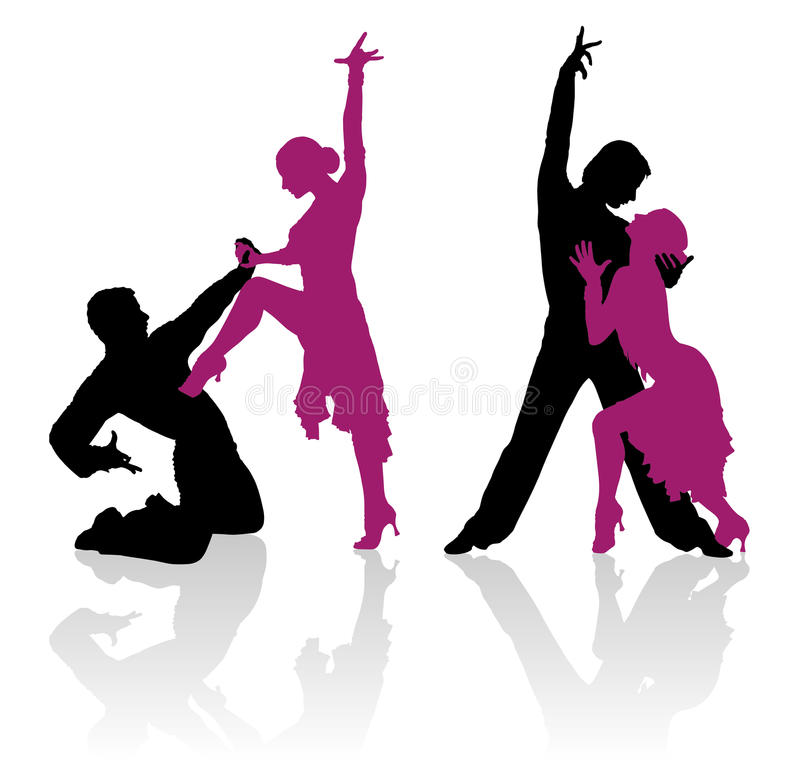 Silhouettes of couple dancing ballroom dance stock photography