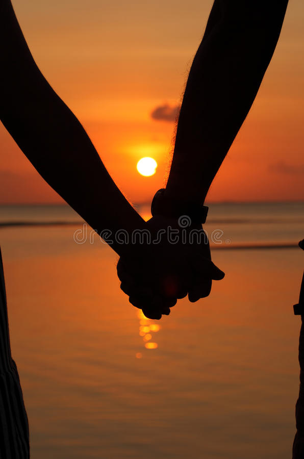 Download Silhouettes couples hands stock image. Image of coastline - 27330603