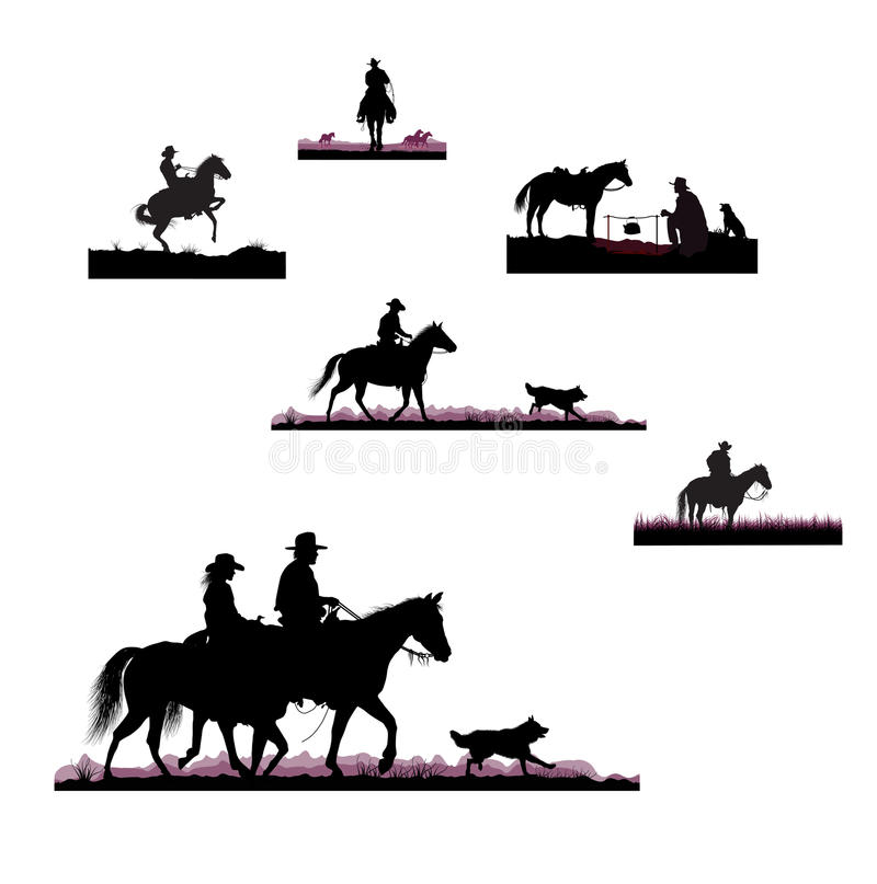 Silhouettes of cowboys stock illustration