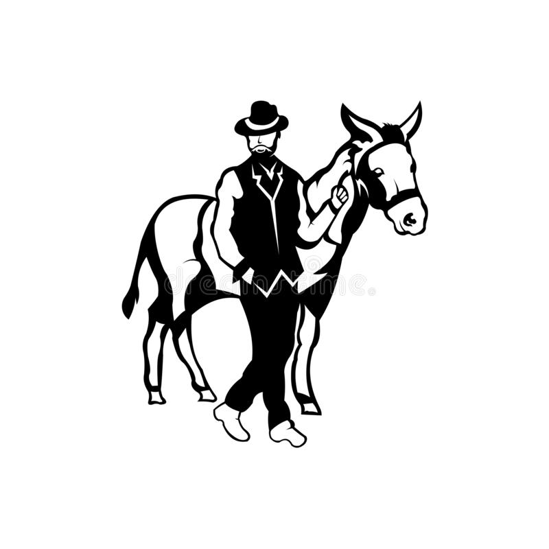 Silhouettes cowboys playing with horses. Sport horses animals pets,a stylish man with his horse stock illustration