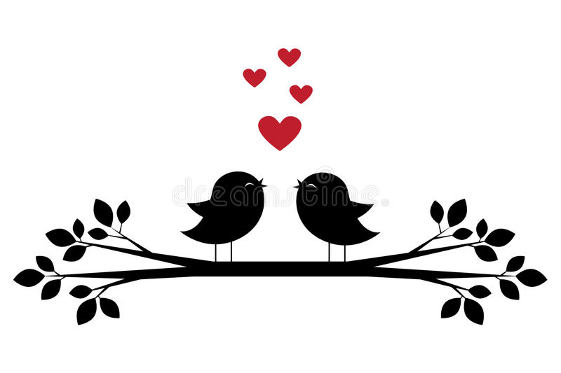 Silhouettes of cute birds sing and red hearts stock illustration
