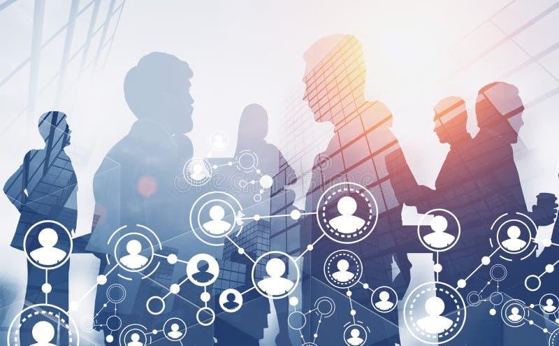 Silhouettes d'équipe d'affaires, interface de personnes illustration de vecteur