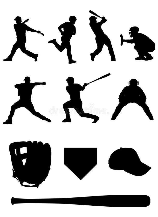 Silhouettes d'équipe de baseball. illustration de vecteur