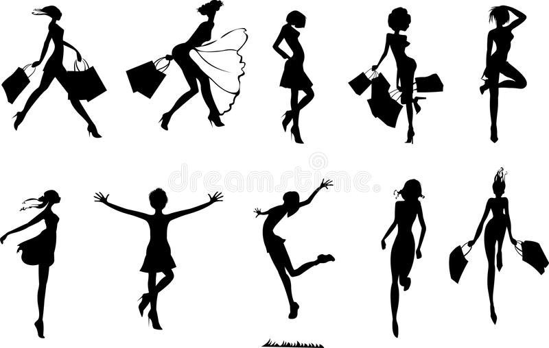 Silhouettes d'achats illustration stock