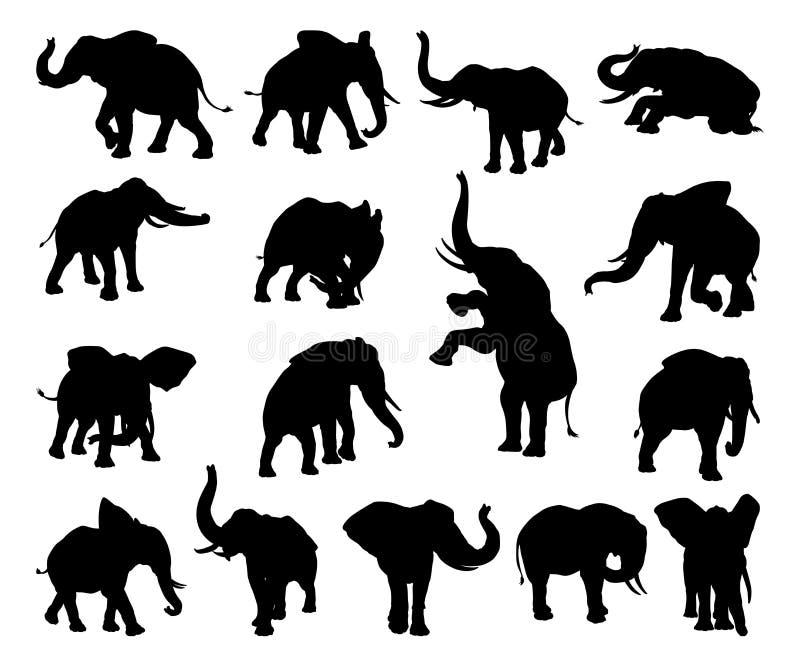 Silhouettes d'animal d'éléphant illustration stock