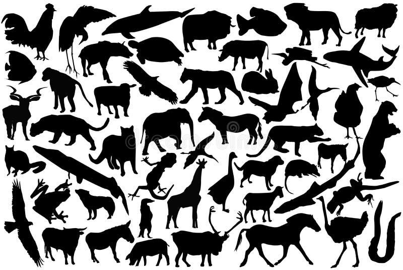 Silhouettes d'animaux illustration de vecteur