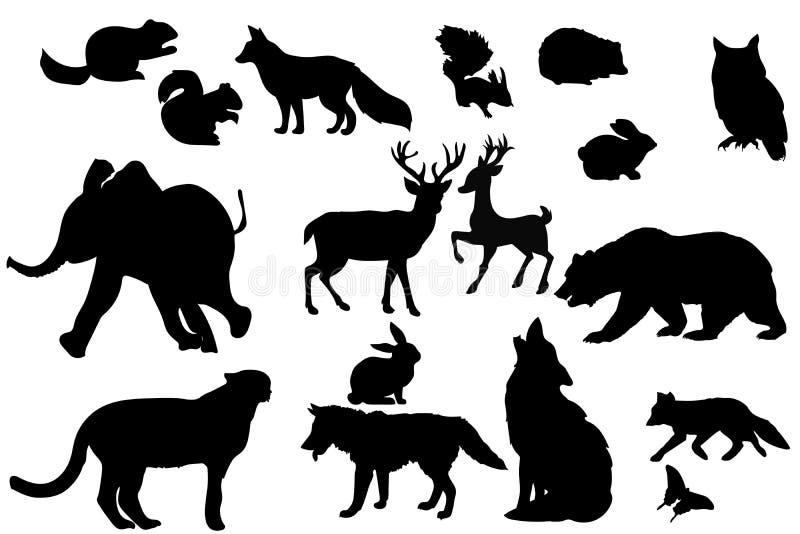 Silhouettes d'animaux sauvages d'isolement, conception de vecteur photo libre de droits
