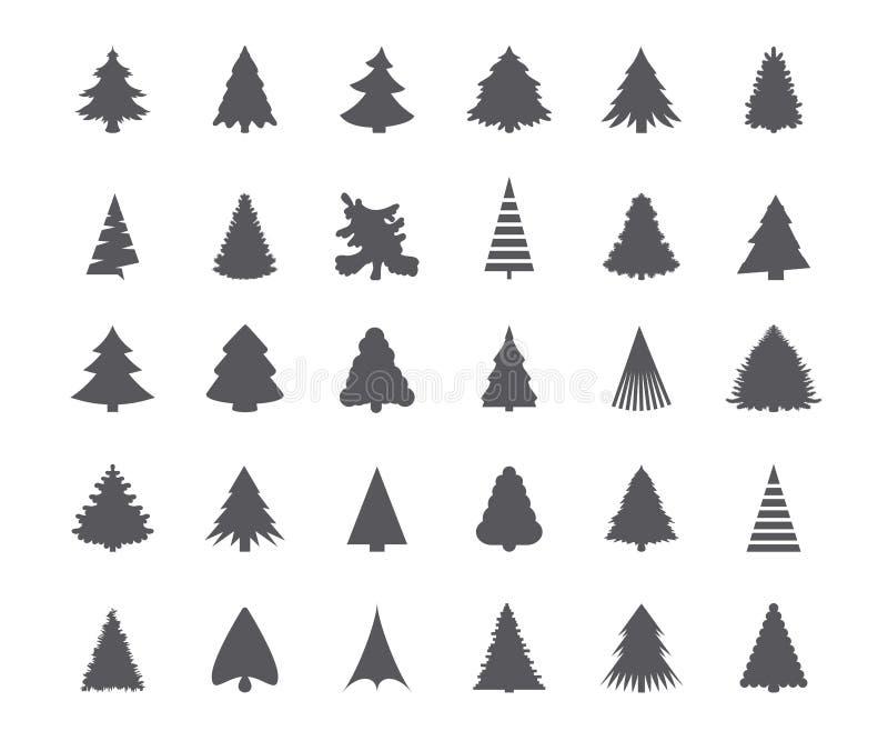 Silhouettes d'arbre de Noël illustration stock