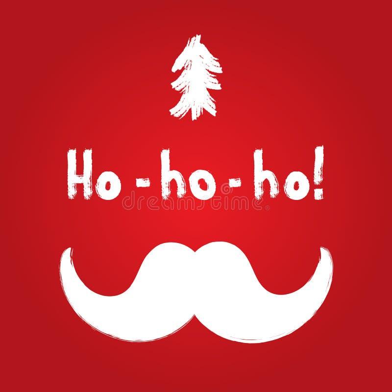 Silhouettes d'arbre de Noël et moustache de Santa Claus Texte Ho-ho-ho ! illustration libre de droits
