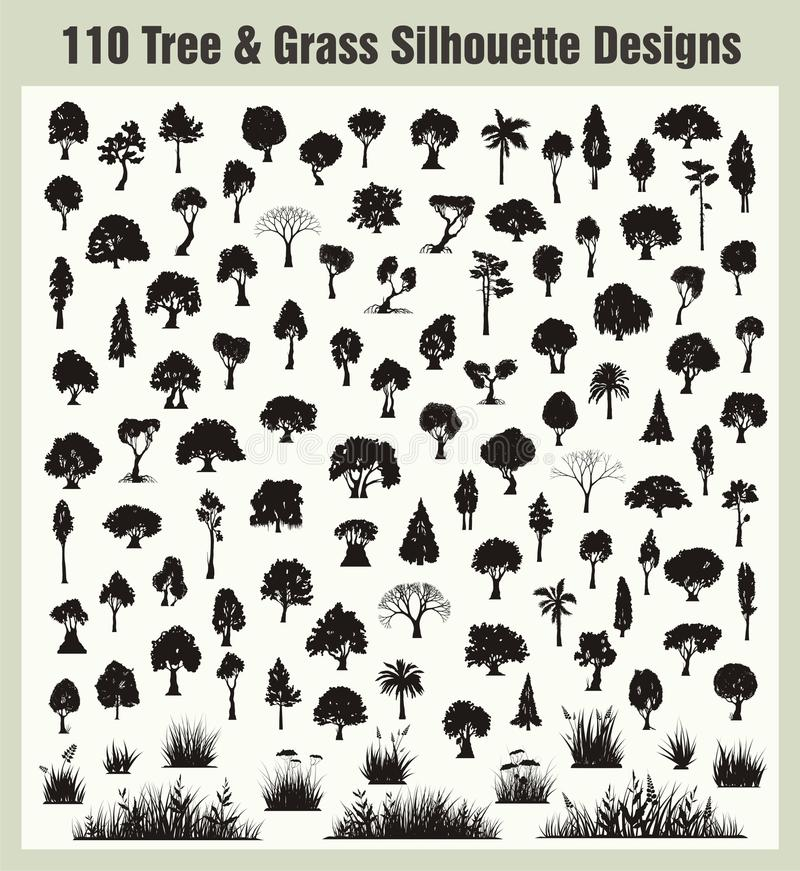 Silhouettes d'arbre et d'herbe de vecteur réglées