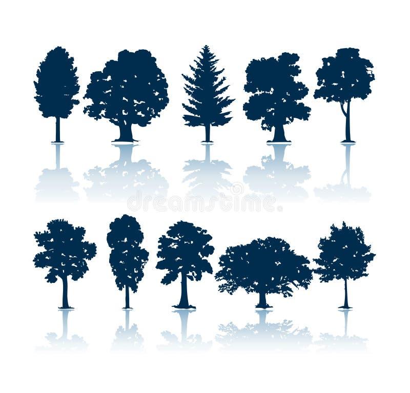 Silhouettes d'arbres illustration libre de droits