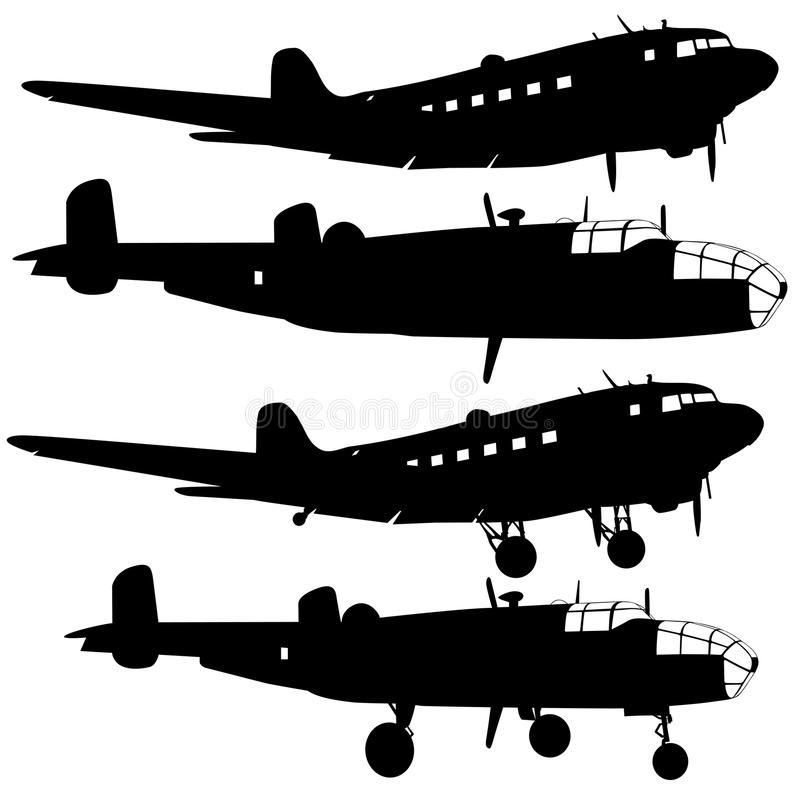 silhouettes d'avion de combat illustration stock