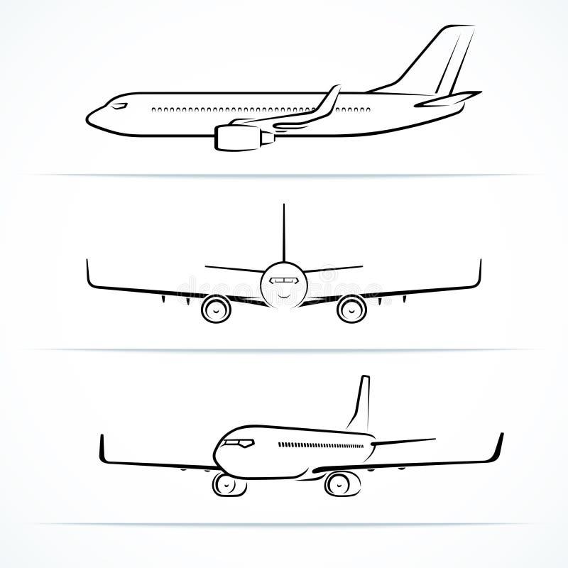 Silhouettes d'avion de passager, découpes, contours illustration libre de droits
