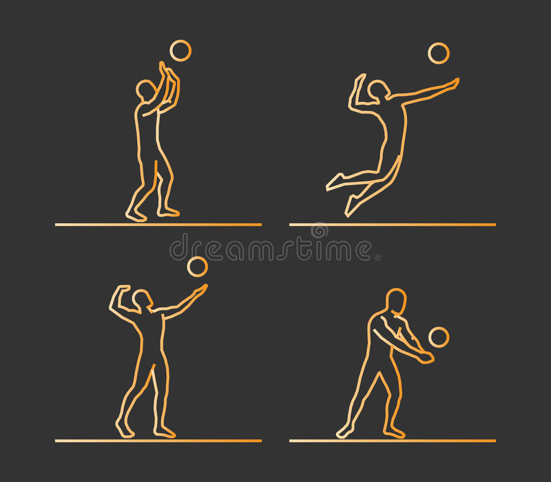 Silhouettes d'or de volleyball illustration stock