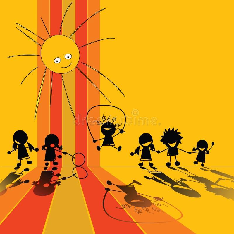 Silhouettes d'enfants illustration stock