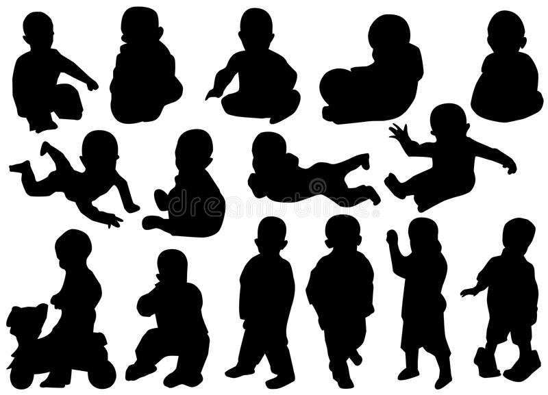 Silhouettes d'enfants illustration de vecteur