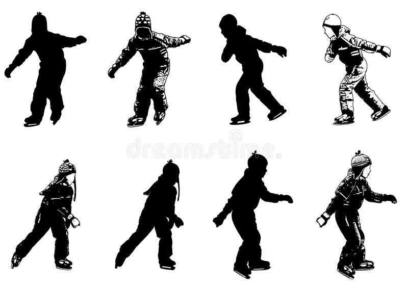 Silhouettes d'enfants de patinage de glace illustration de vecteur